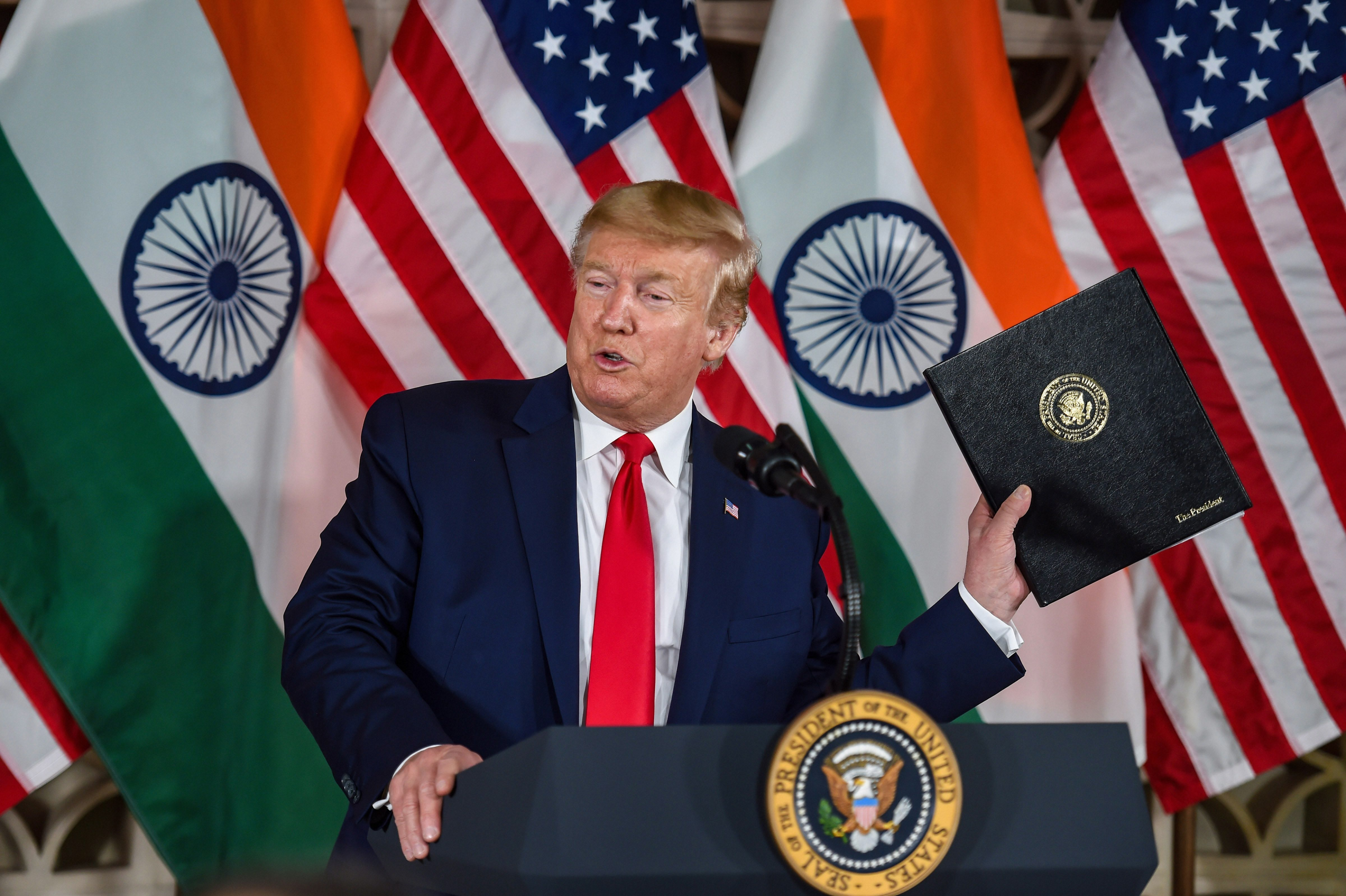 US President Donald Trump speaks during an interaction with business leaders at US embassy in New Delhi, Tuesday, February 25, 2020