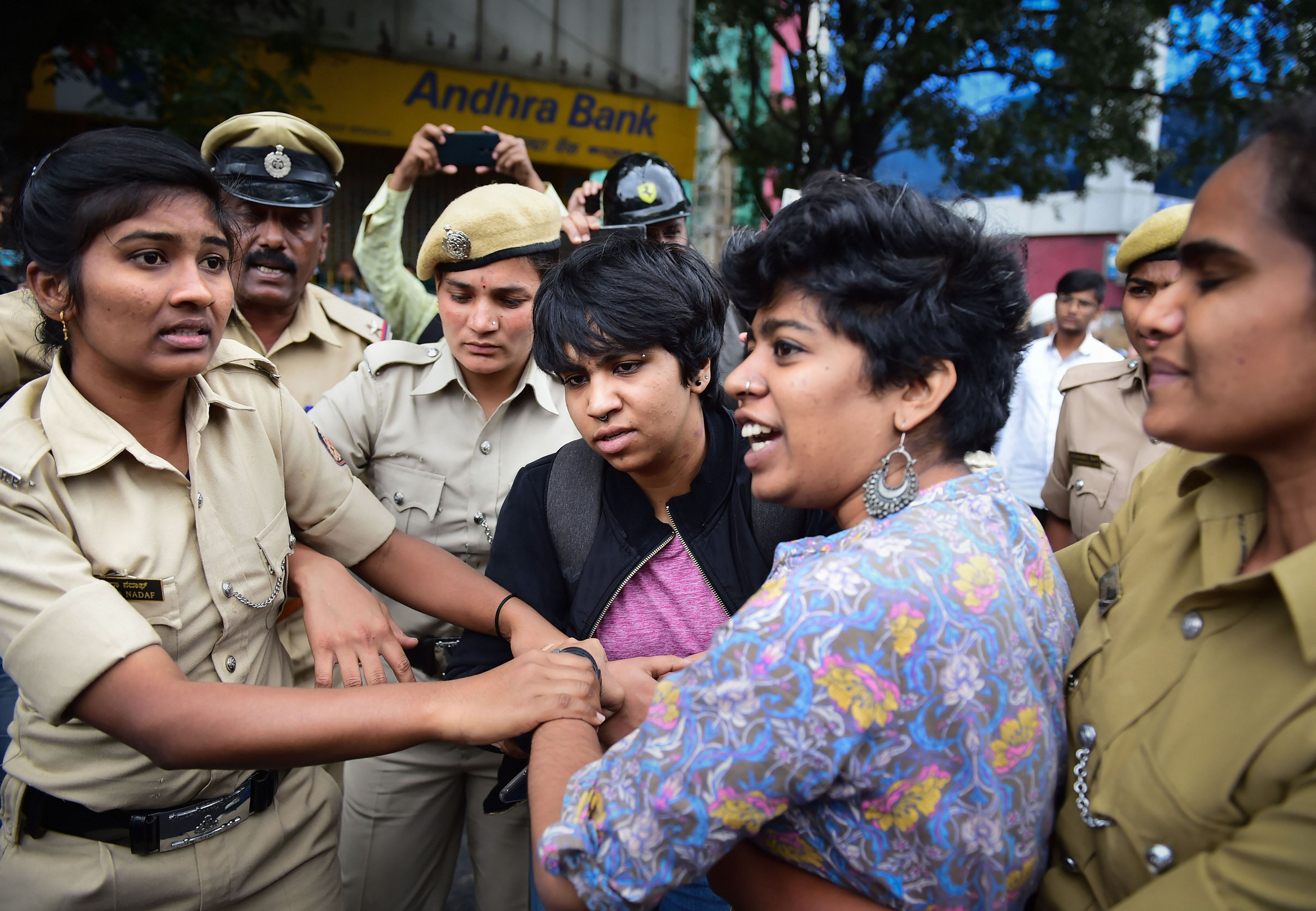 Protestors detained by police for defying prohibitory orders imposed in the area during an anti-Citizenship Act protest rally, in Bengaluru, Thursday, December 19, 2019.