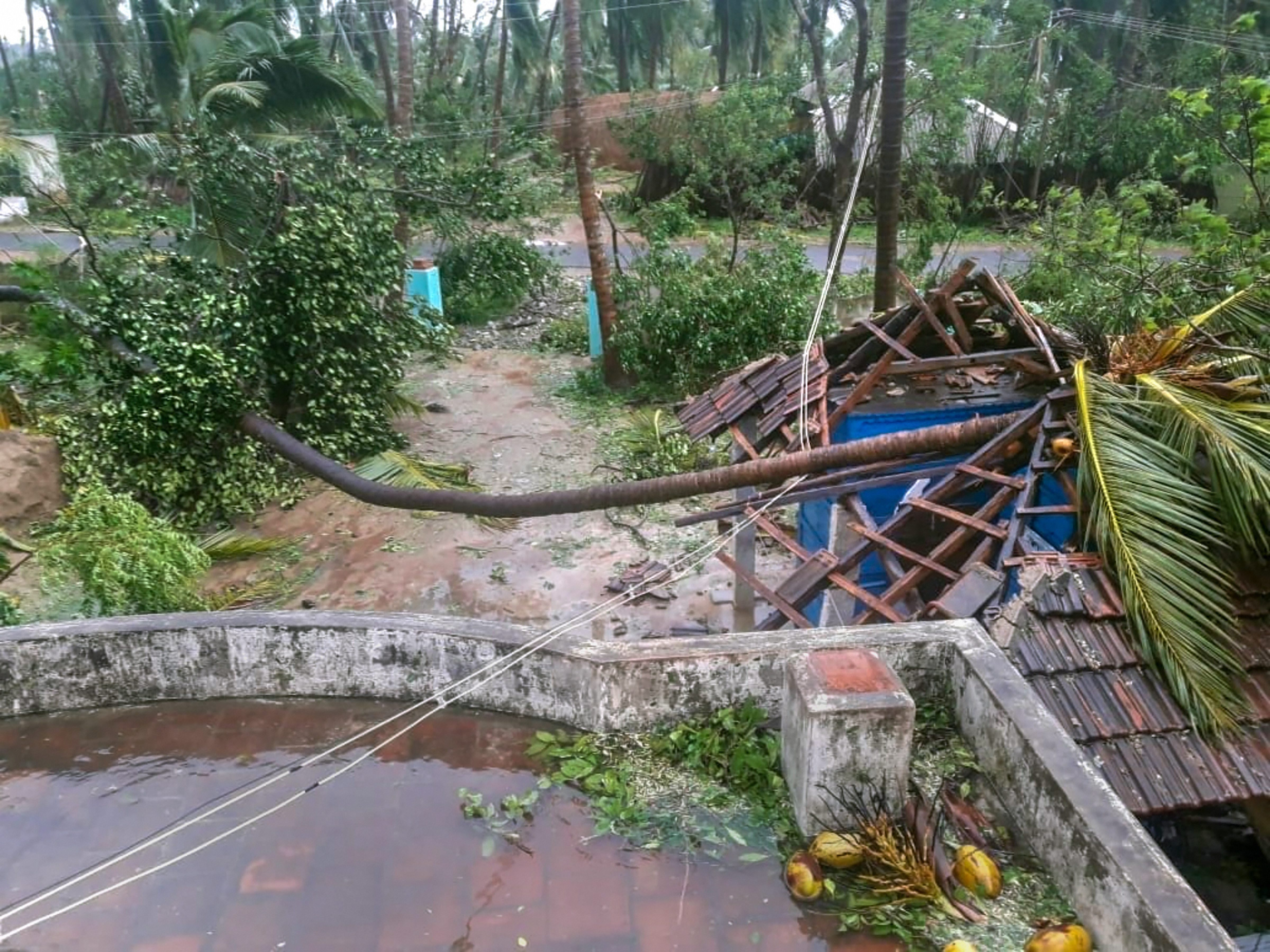 A damaged house after cyclone Gaja hit Pudukkottai district in Tamil Nadu on November 16. Over 80,000 people were evacuated from low-lying areas as the severe cyclonic storm crossed the state's coast between Nagapattinam and nearby Vedaranyam.