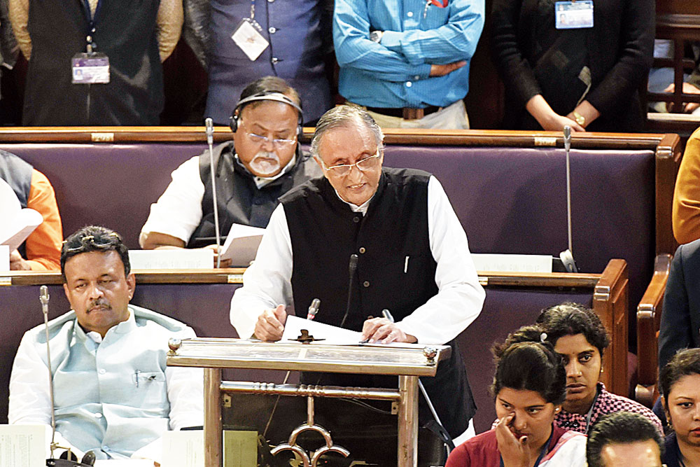 Amit Mitra in Bengal Assembly on Monday.