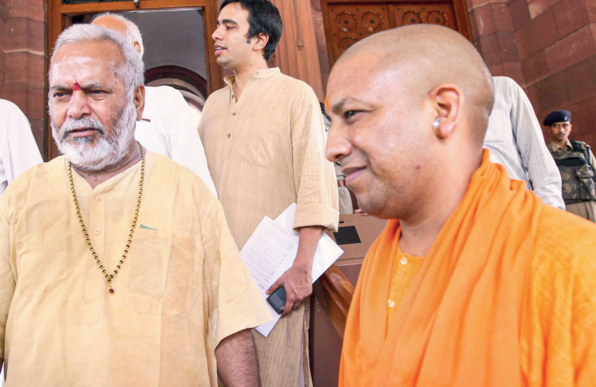 Chinmayanand with Yogi Adityanath, then MP and now Uttar Pradesh chief minister, outside Parliament on August 17, 2010.