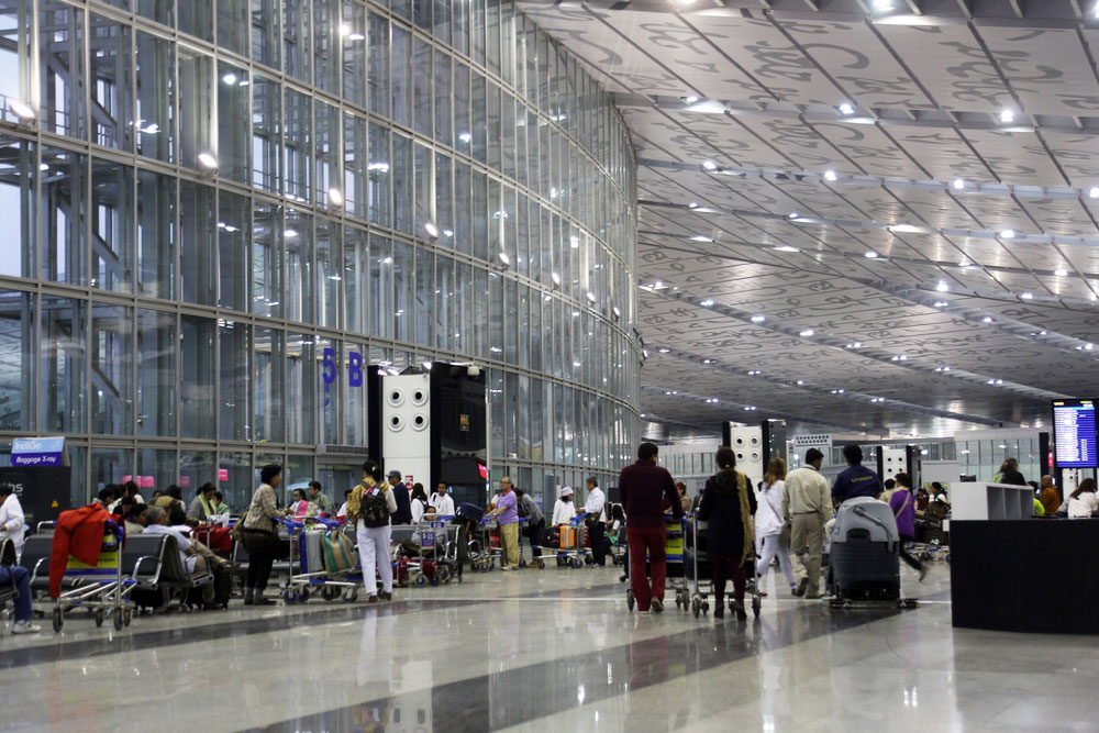 Passengers at Calcutta airport. The ATC at the airport handles about 1,000 overflying aircraft every day