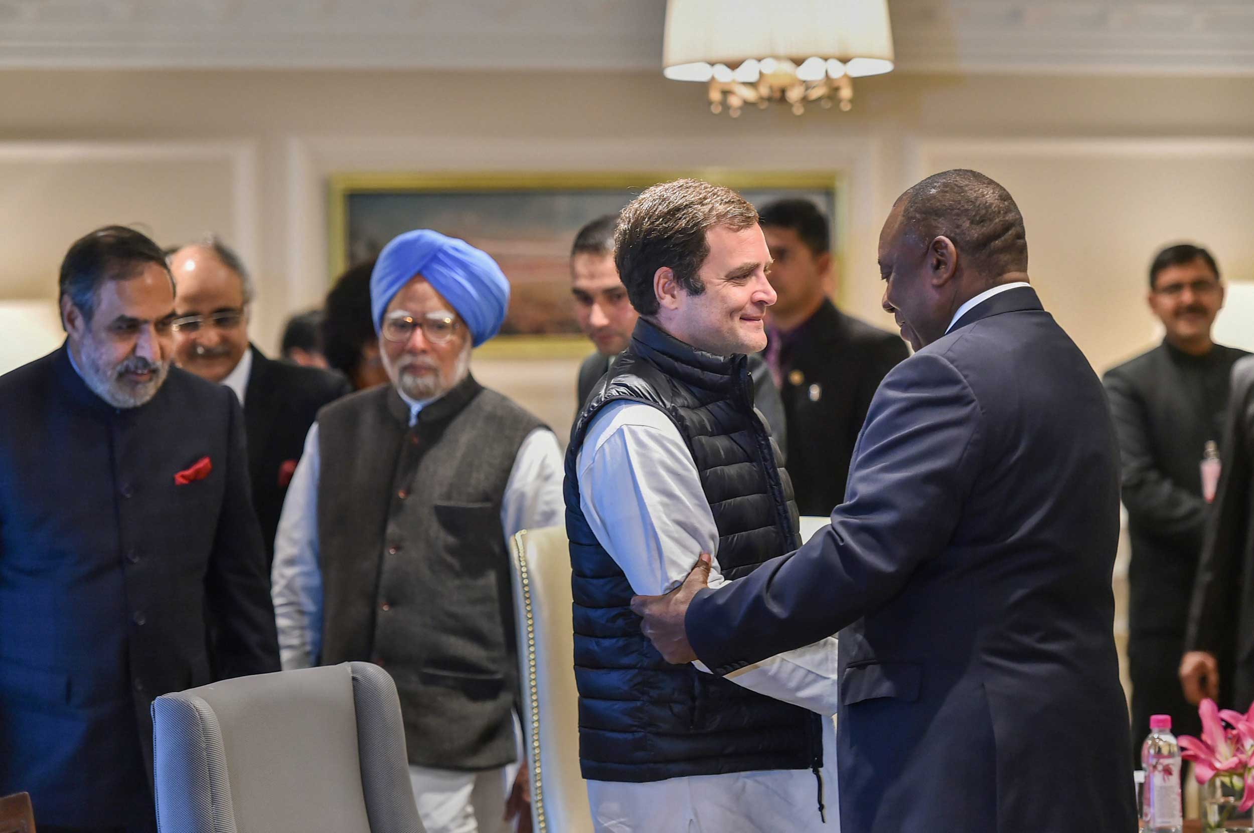 Rahul Gandhi greets South African President Cyril Ramaphosa during a meeting, in New Delhi, on Saturday.