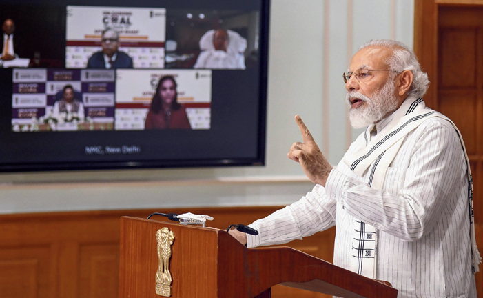 Narendra Modi addresses the coal block auction launch through a video conference on Thursday.