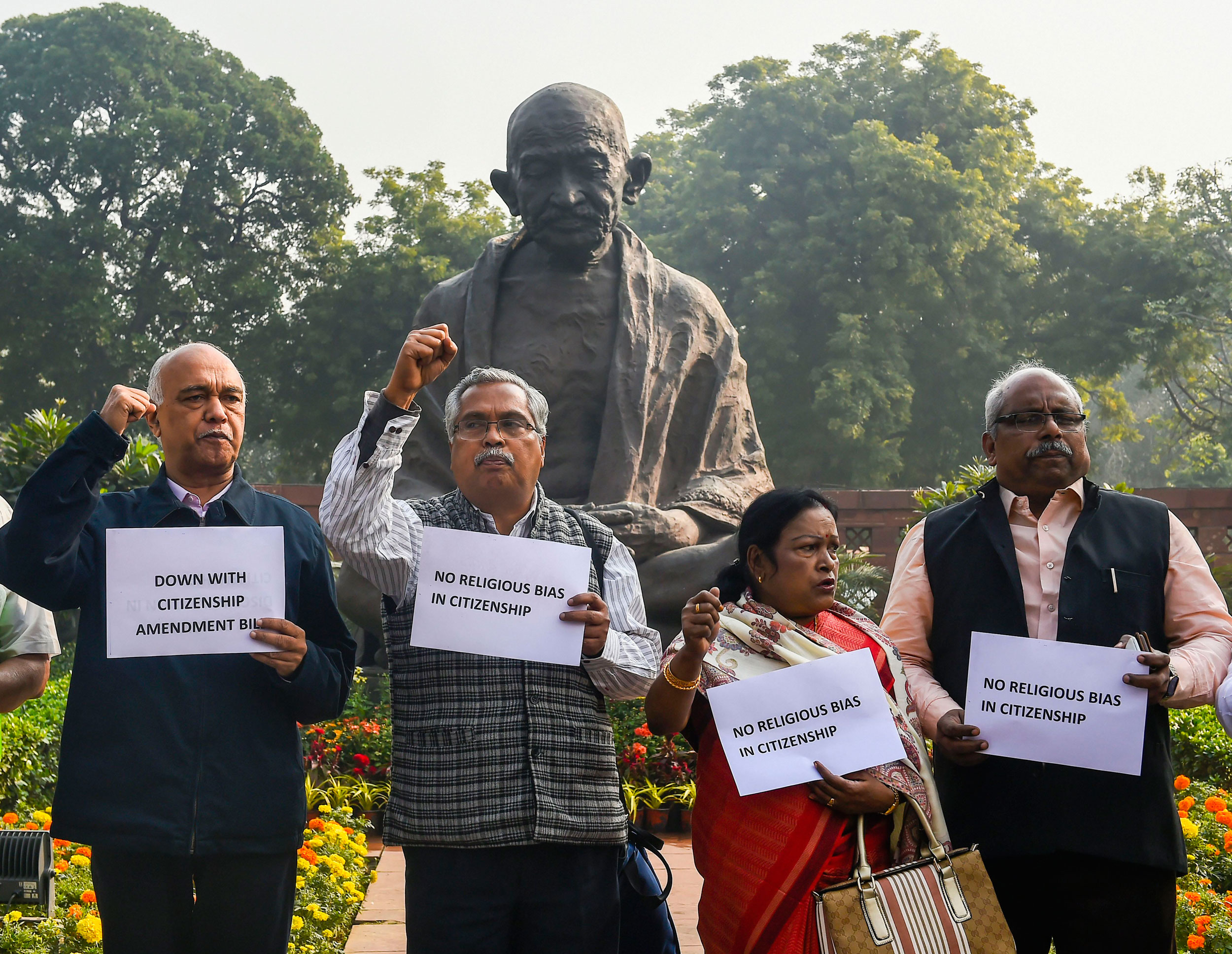 MPs belonging to the Left parties protest the Citizenship (Amendment) Bill 2019, at Parliament  in New Delhi, on Tuesday.