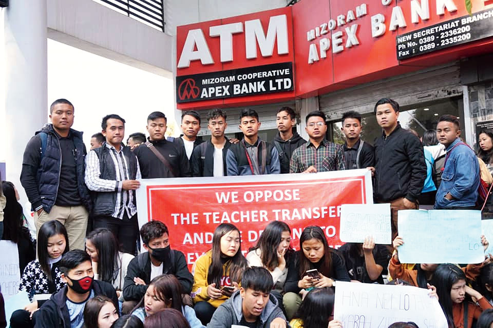 Students at the protest in Aizawl