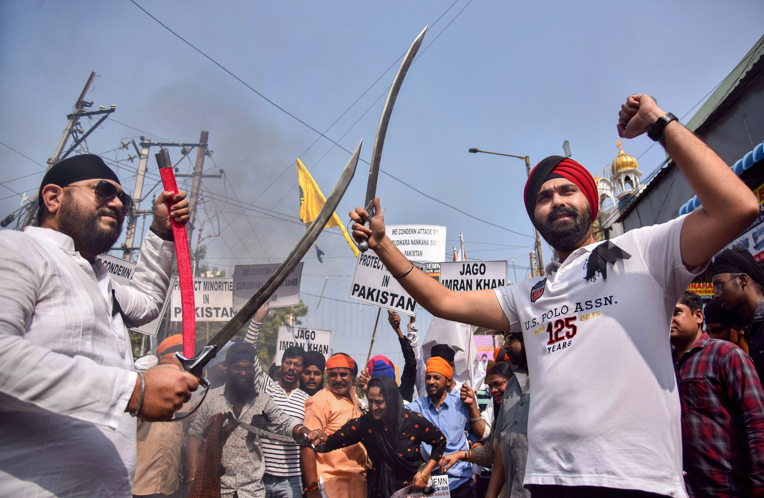 People from the Sikh community protest the attack on Gurudwara Nankana Sahib in Pakistan, at Central Gurudwara in Hyderabad, on Sunday.