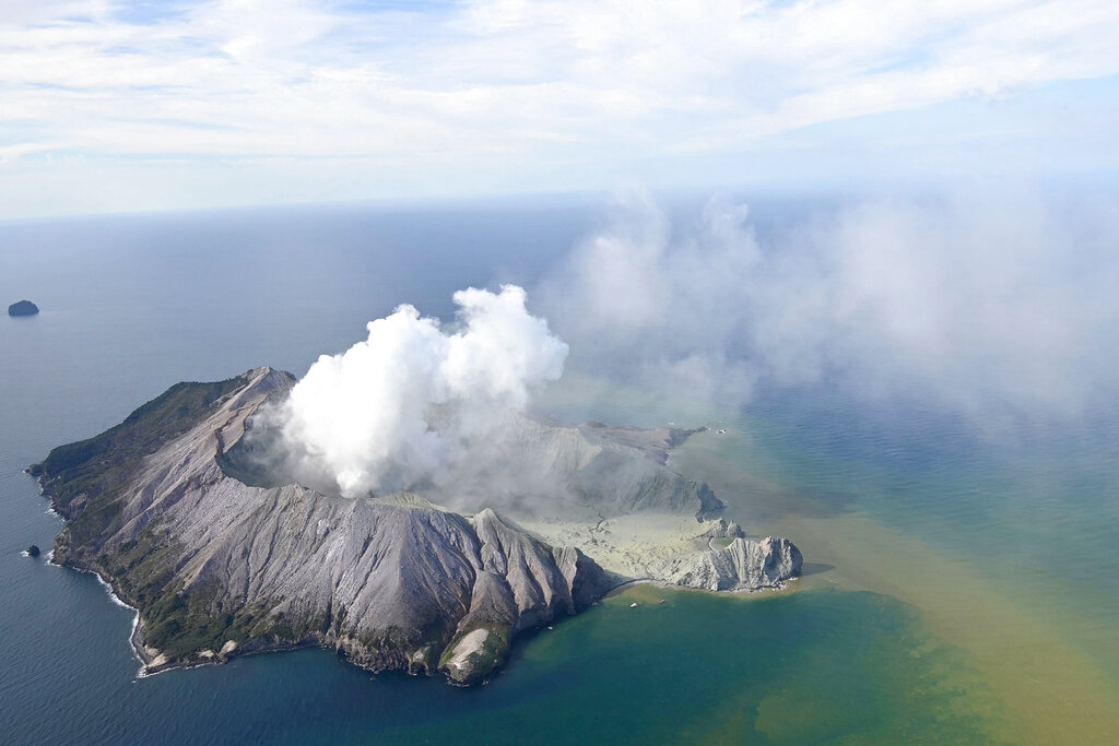 This aerial photo shows White Island after its volcanic eruption in New Zealand Monday, Dec. 9, 2019.
