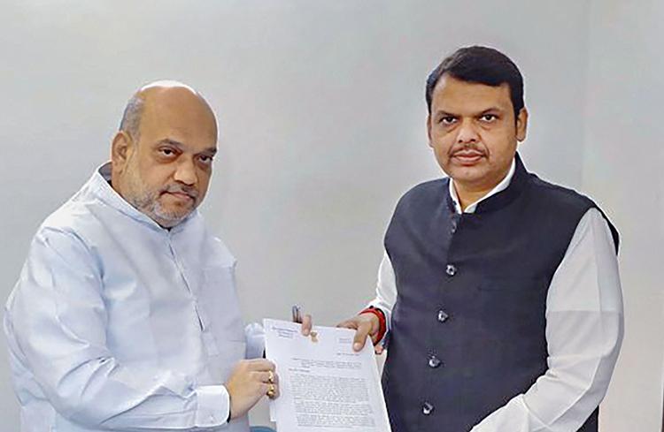 Union home minister Amit Shah and Maharashtra chief minister Devendra Fadnavis in New Delhi on Monday