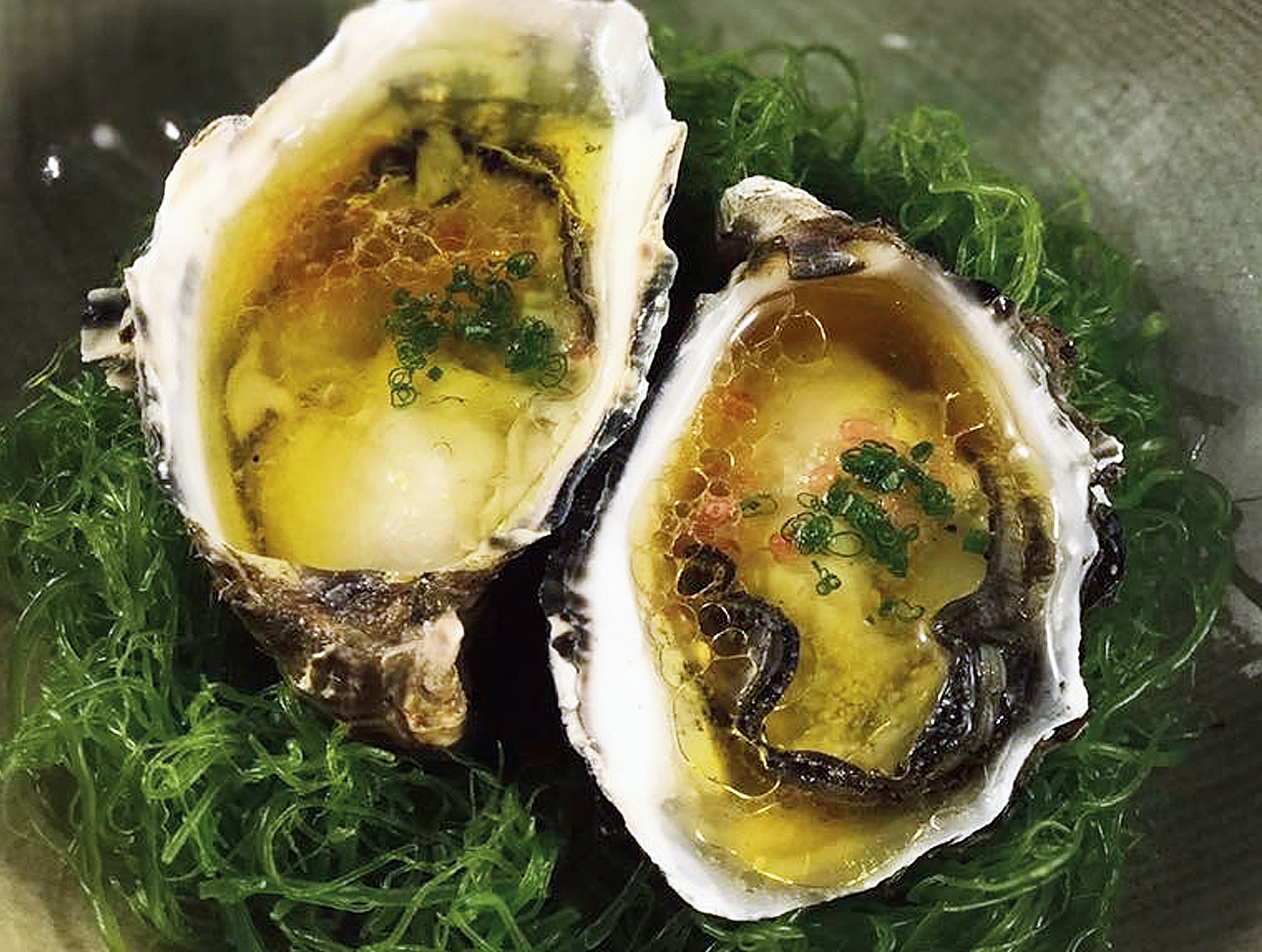 Tasmanian Pacific Oysters with rice wine vinaigrette at Tetsuya's, which is owned by Tetsuya Wakuda (below)