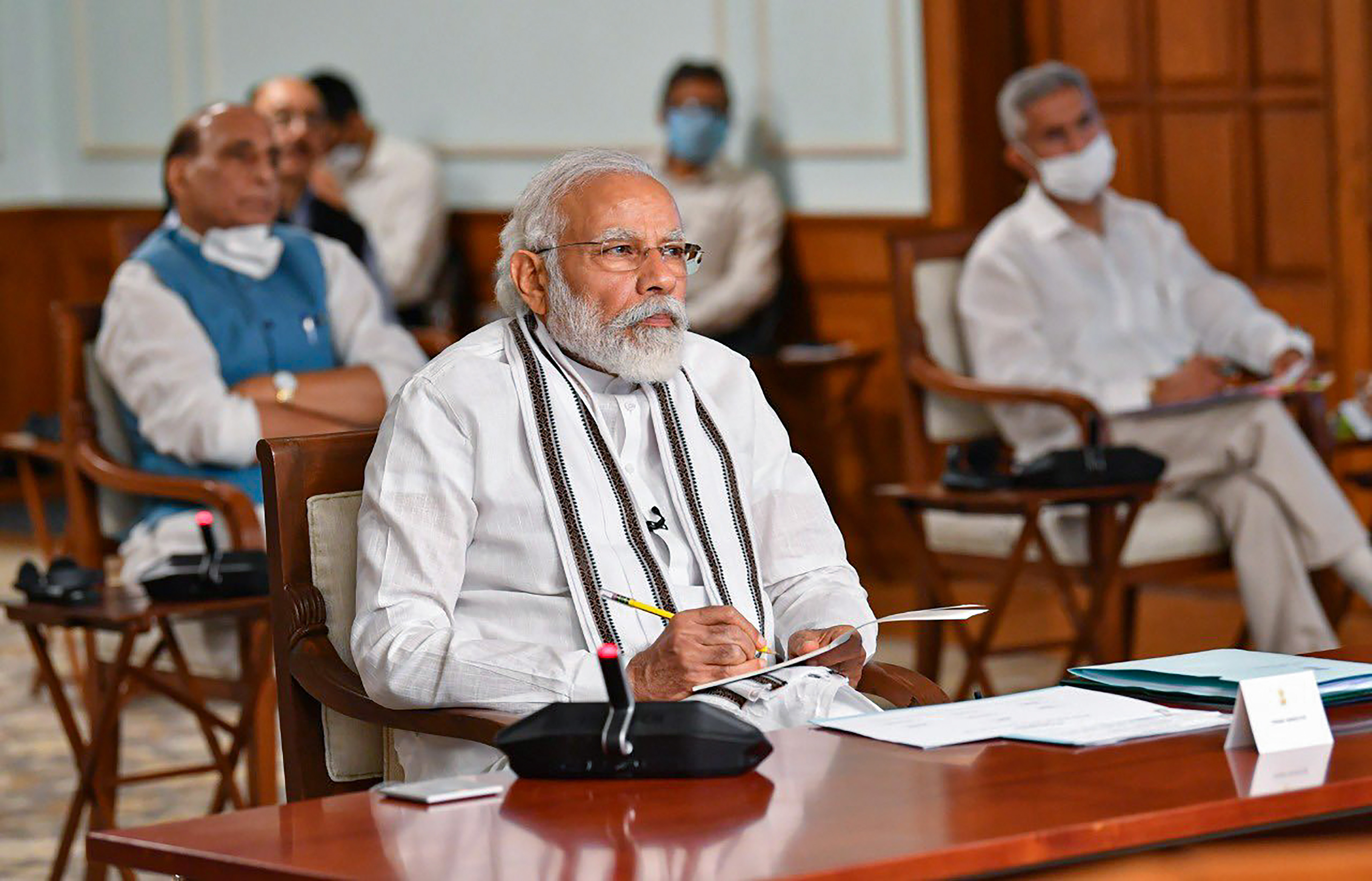 Prime Minister Narendra Modi during the all-party meeting to discuss the situation along the India-China border via videoconferencing in New Delhi on Friday.