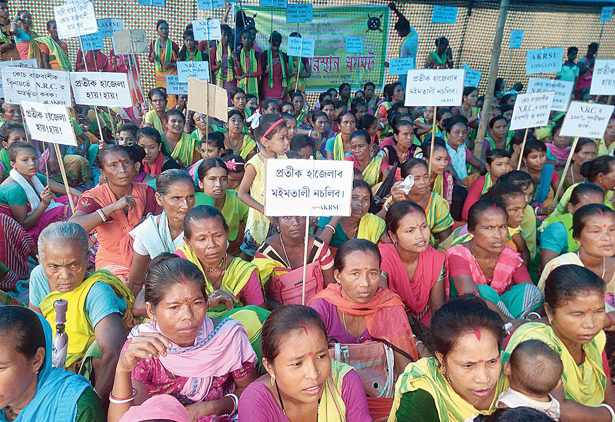 All Koch Rajbongshi Students' Union activists protest against NRC in Baksa district on Thursday.