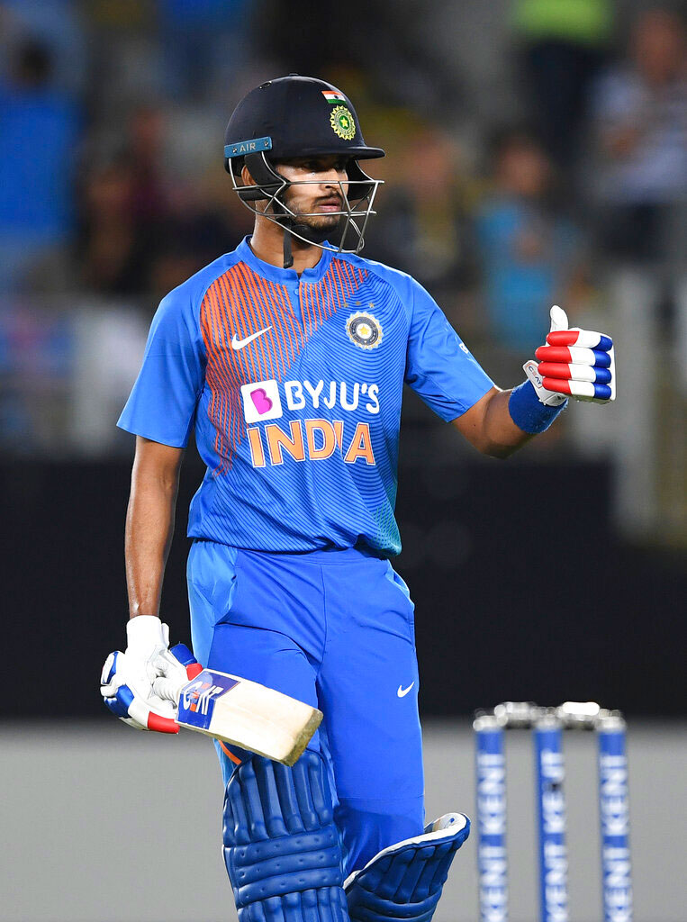 Shreyas Iyer during the Twenty/20 cricket international between India and New Zealand in Auckland, New Zealand on Friday