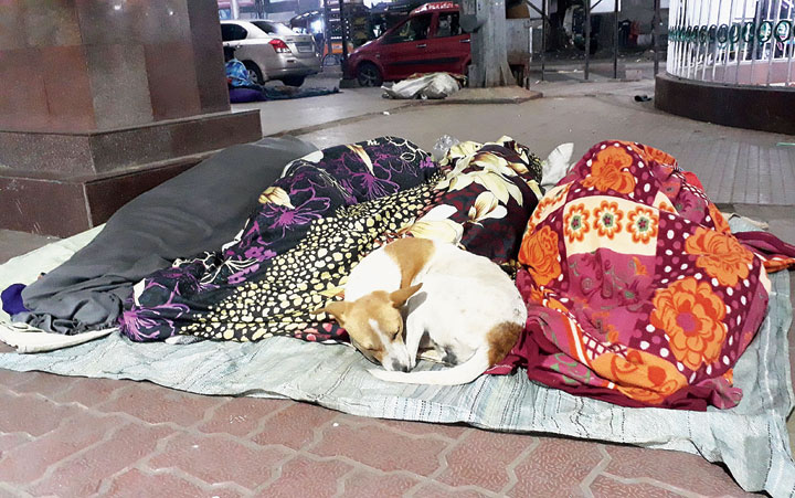 People wrapped in blankets sleep outside Dhanbad railway station on Wednesday night