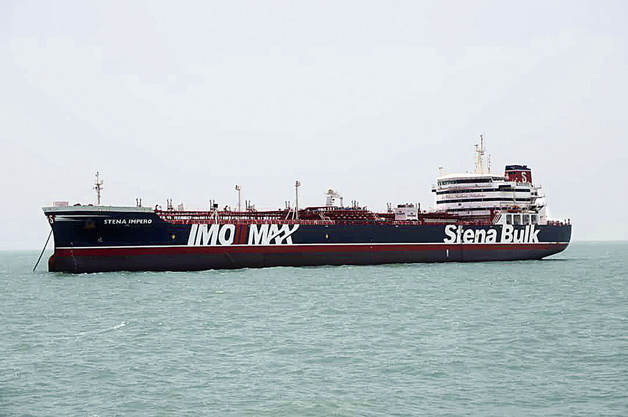 The British-flagged oil tanker, Stena Impero, in the Iranian port of Bandar Abbas on Saturday.