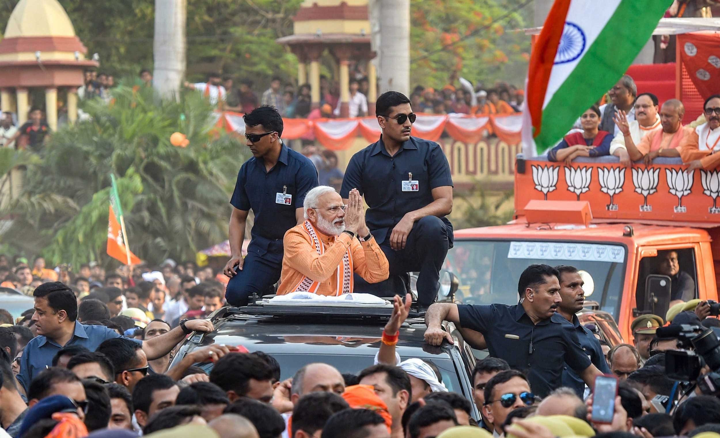 Prime Minister Narendra Modi during a roadshow in Varanasi on Thursday.