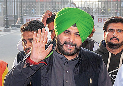 Punjab cabinet minister Navjot Singh Sidhu arrives after attending the groundbreaking ceremony for the Kartarpur Corridor, at the India-Pakistan Wagah Post, about 35km from Amritsar on Thursday, on November 29, 2018.