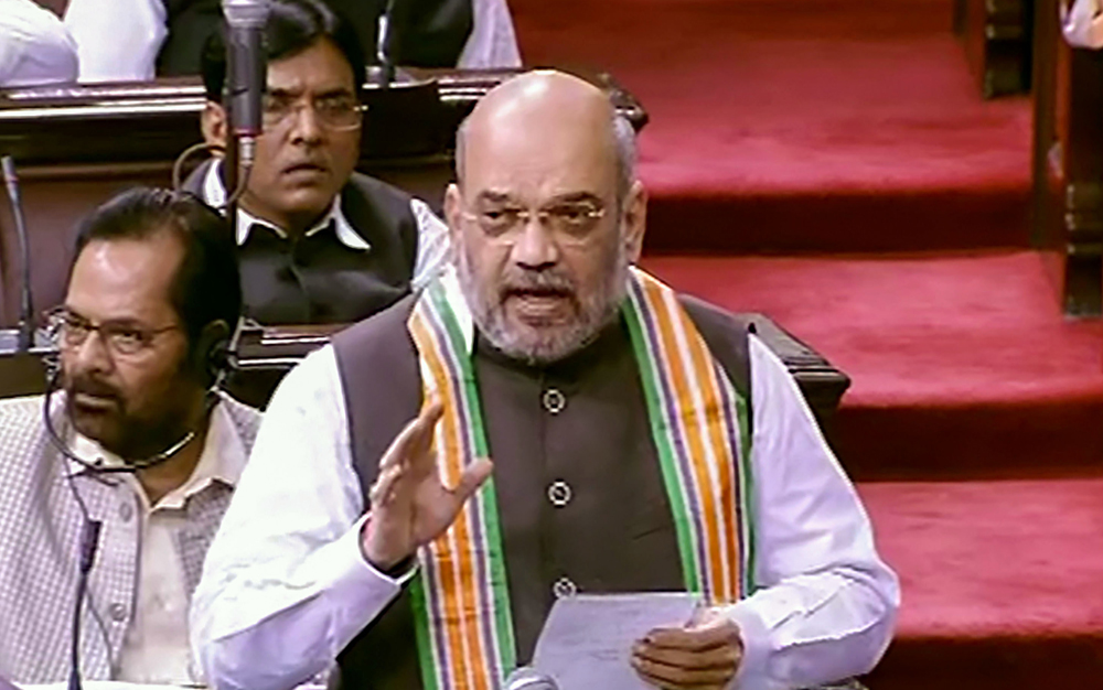 Union Home Minister Amit Shah speaks in the Rajya Sabha during the Budget Session of Parliament, in New Delhi, Monday, July 22, 2019.