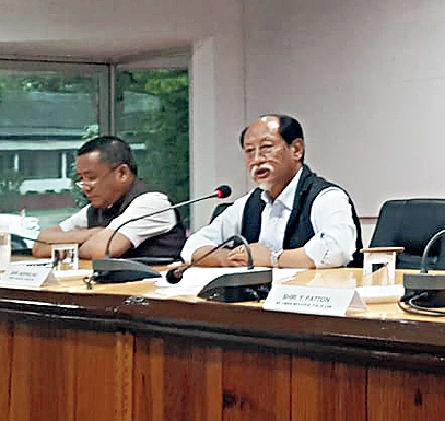 Nagaland chief minister Neiphiu Rio addresses the leaders on Wednesday.