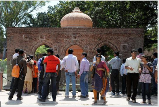 Visitors at the historical Jallianwala Bagh in Amritsar.
