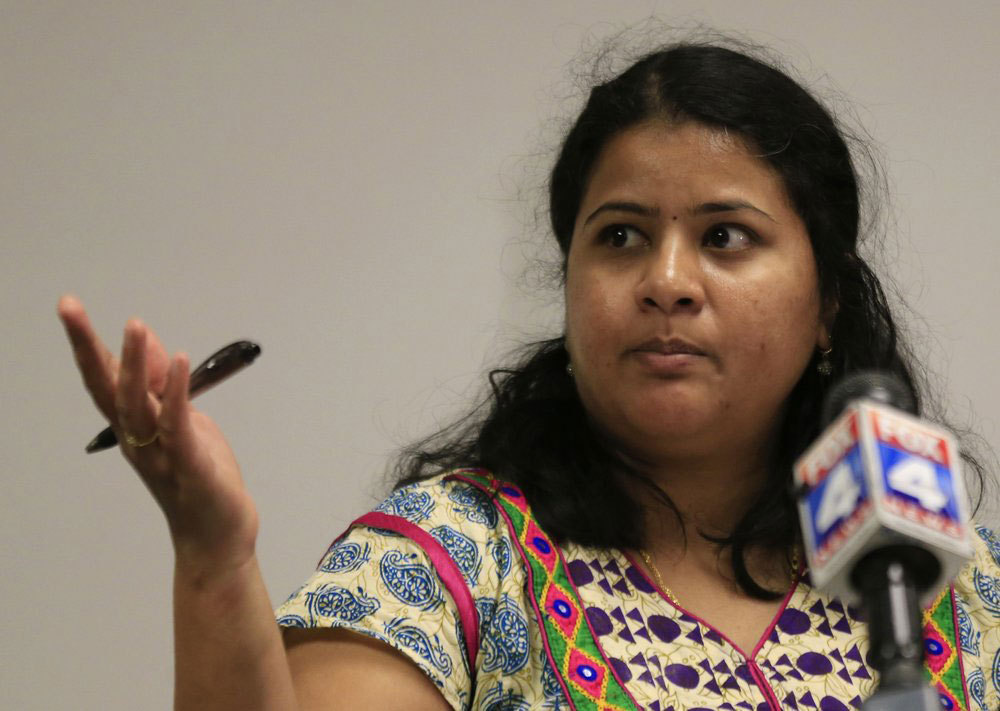 In this February 24, 2017, file photo, Sunayana Dumala talks about her late husband, Srinivas Kuchibhotla, an Indian engineer who was murdered in a Kansas City-area bar, during a news conference at Garmin Headquarters in Olathe, Kansas.