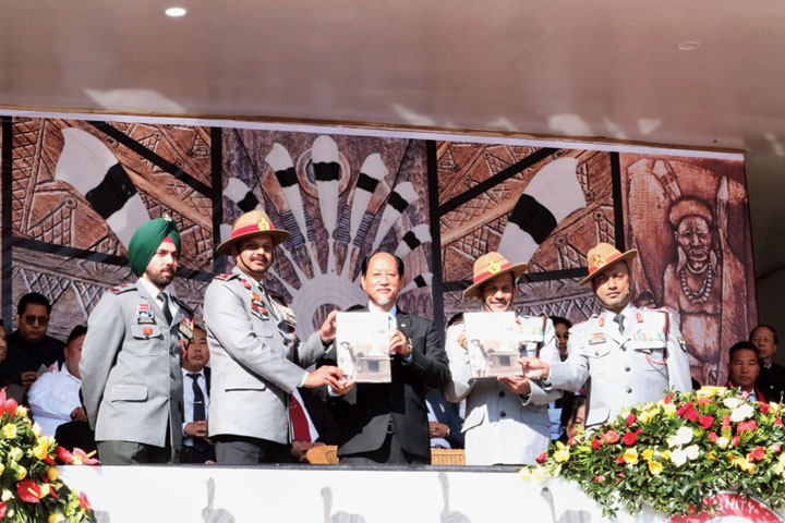 Nagaland chief minister Neiphiu Rio releases the book in Kohima on Sunday.