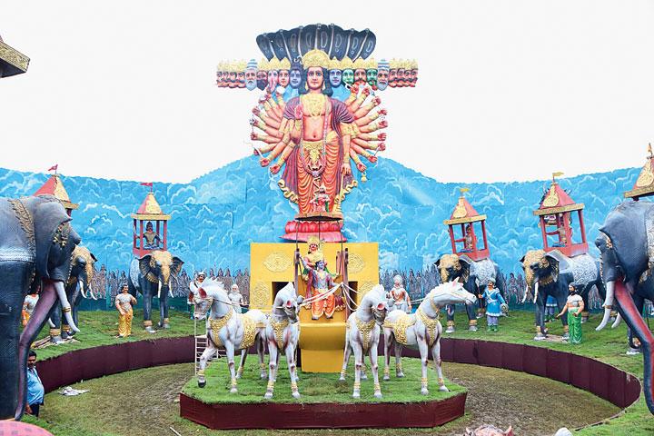 The pandal of Sri Sri Shyama Puja Committee at Jharnapara in Hirapur, Dhanbad, on Saturday