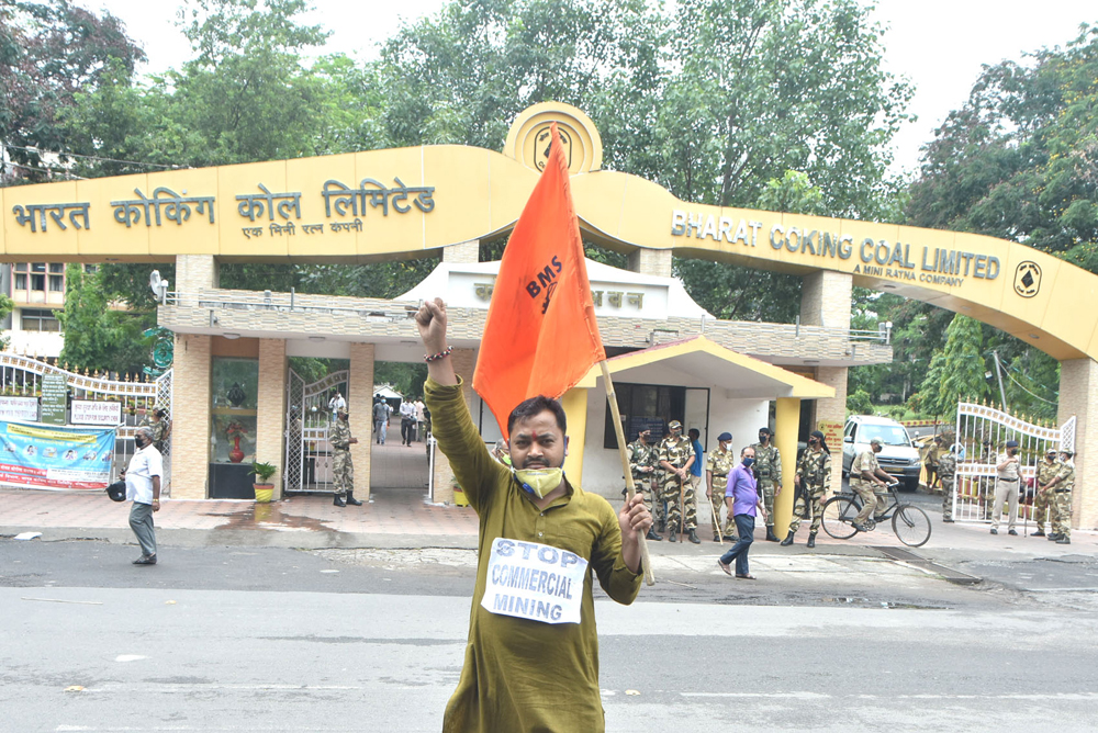A Bhartiya Majdoor Sangh (BMS) activist demonstrating in front of Koyla Bhavan, the BCCL headquarters in Dhanbad, on Thursday against the auction of coal blocks for commercial mining