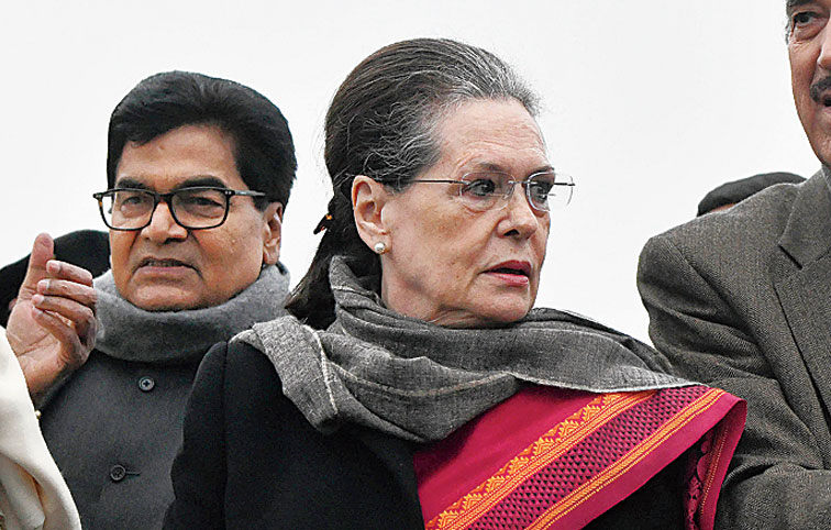 Congress president Sonia Gandhi addresses the media after meeting President Ram Nath Kovind.