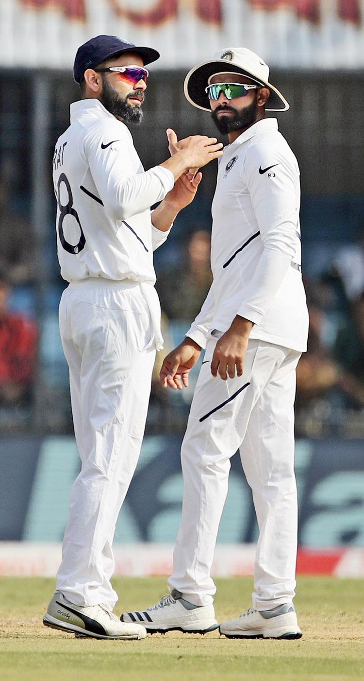 Virat Kohli and Ravindra Jadeja during the India versus Bangladesh Test in Indore