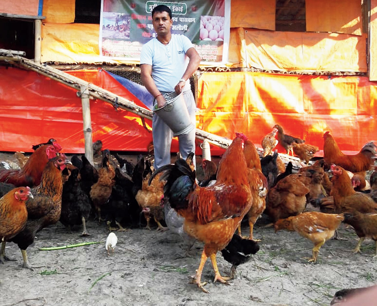 Ranjay Paswan at his poultry farm in Parari.