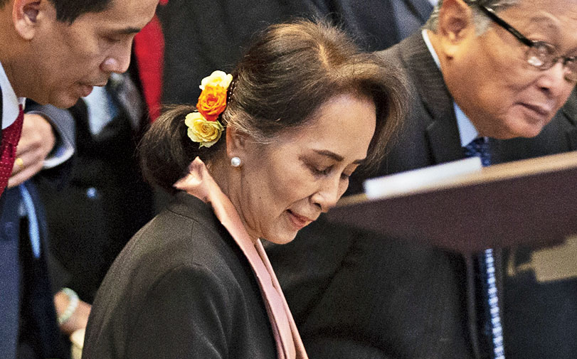 Aung San Suu Kyi in the courtroom at The Hague on Tuesday.