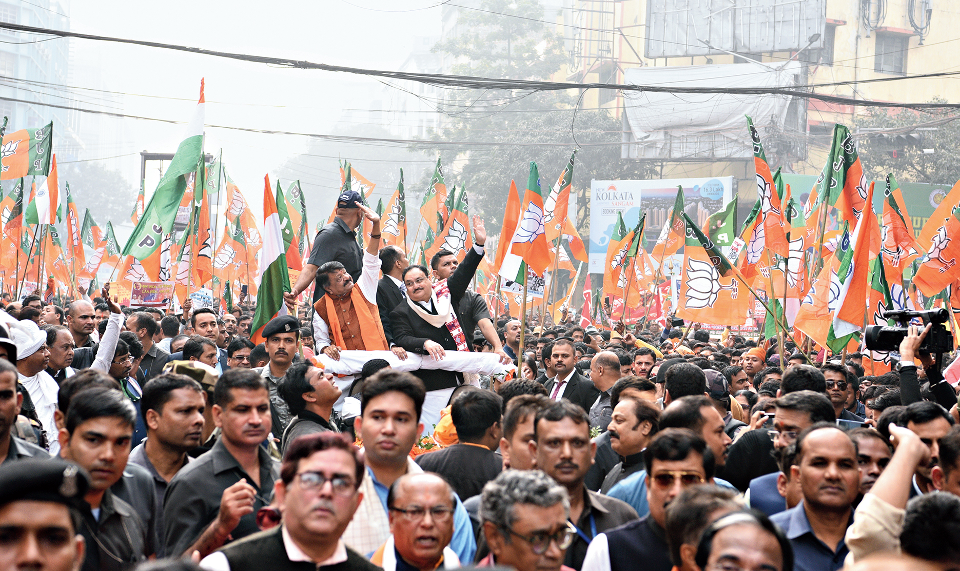 Nadda leads the march in Calcutta on Monday.