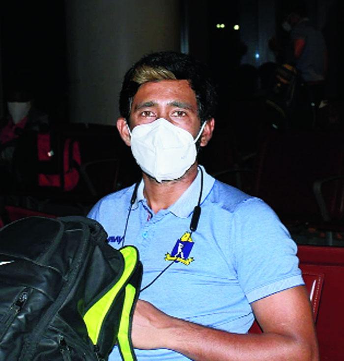 Wriddhiman Saha at the Mumbai airport on Saturday evening