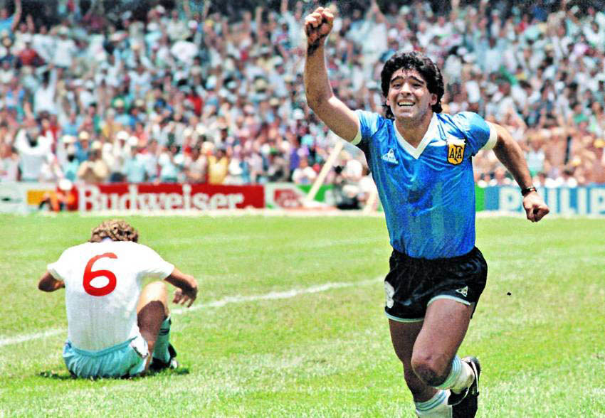 Maradona celebrates his second goal against England during the 1986 Fifa World Cup.