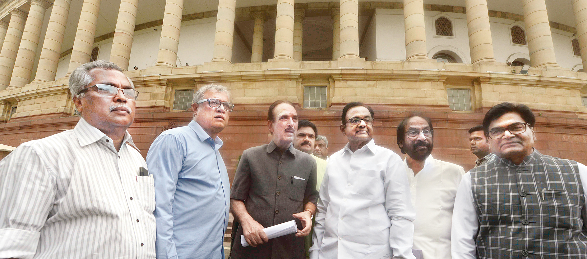 Congress leaders Ghulam Nabi Azad, P Chidambaram, Trinamul leader Derek O'Brien, Samajwadi MP Ram Gopal Yadav and others in New Delhi on Monday.