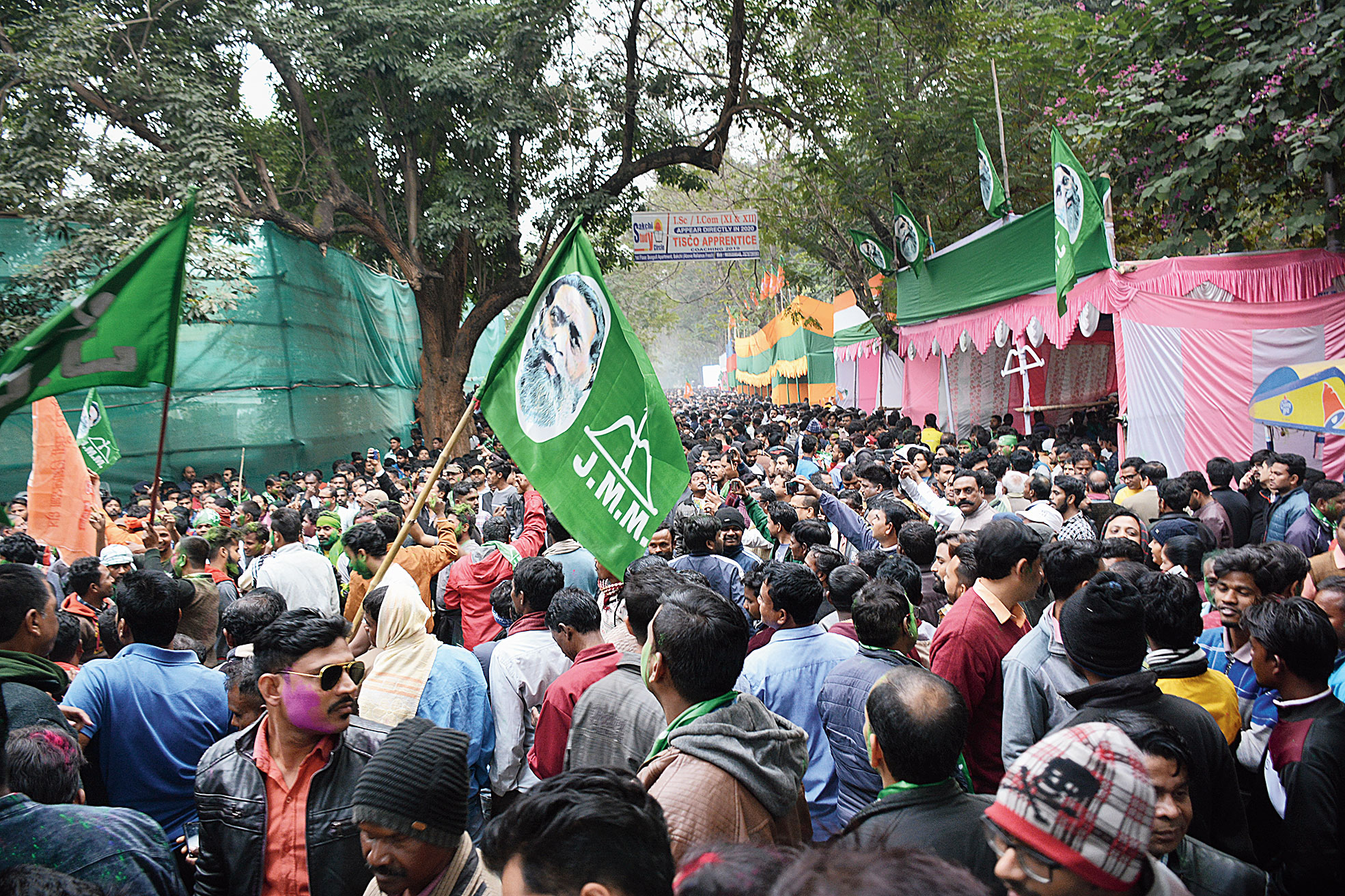 The crowd outside the counting centre at Jamshedpur Co-operative College on Monday.
