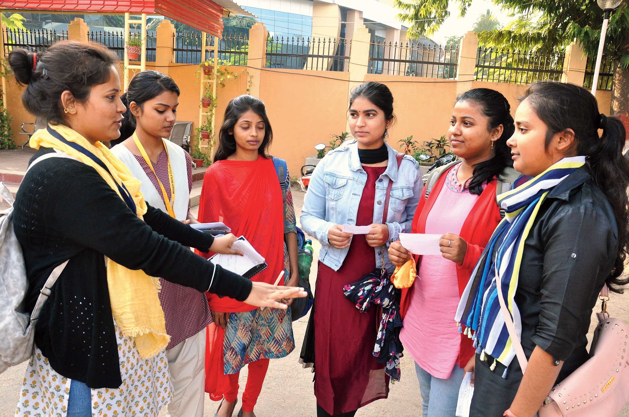 A student campaigns on Tuesday at Magadh Mahila College ahead of the Patna University Students' Union elections.