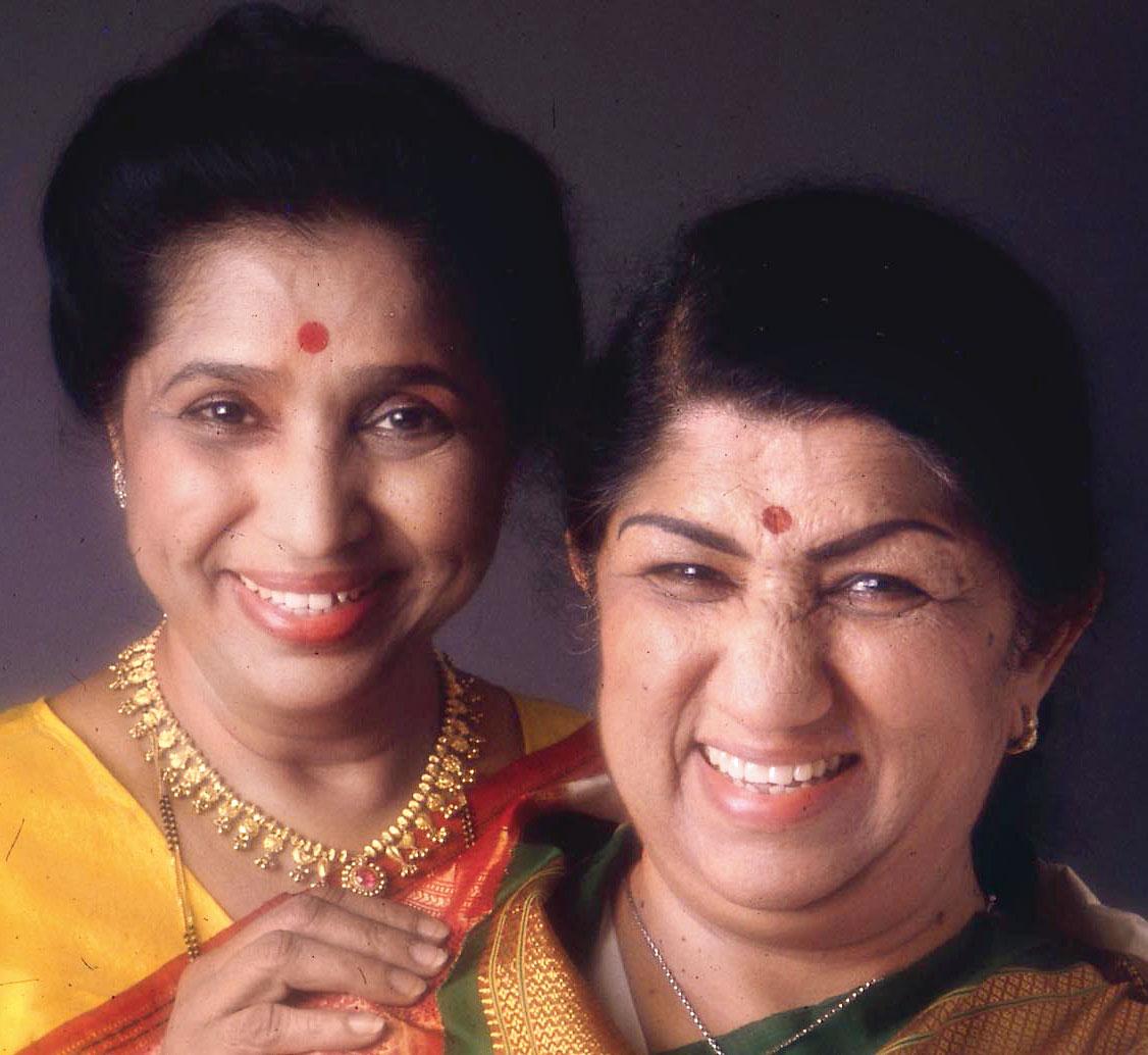 With sister Asha Bhosle