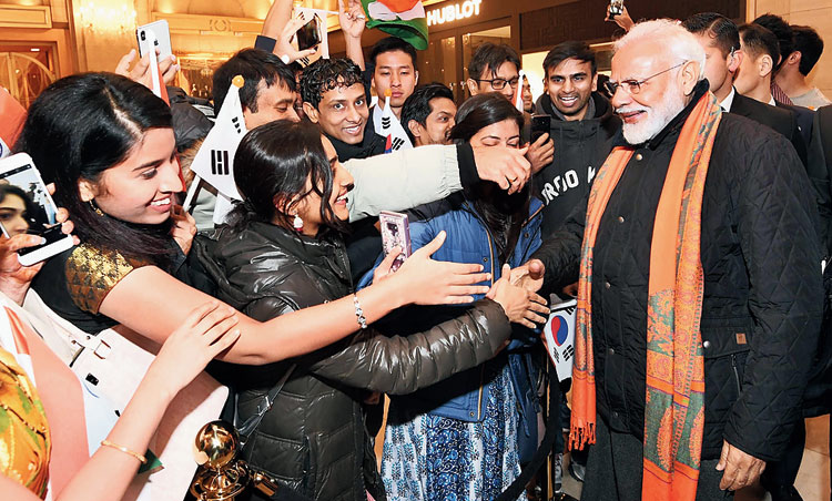 Modi meets Indians in Seoul on Thursday. The Prime Minister arrived in South Korea earlier on Thursday on a two-day state visit.