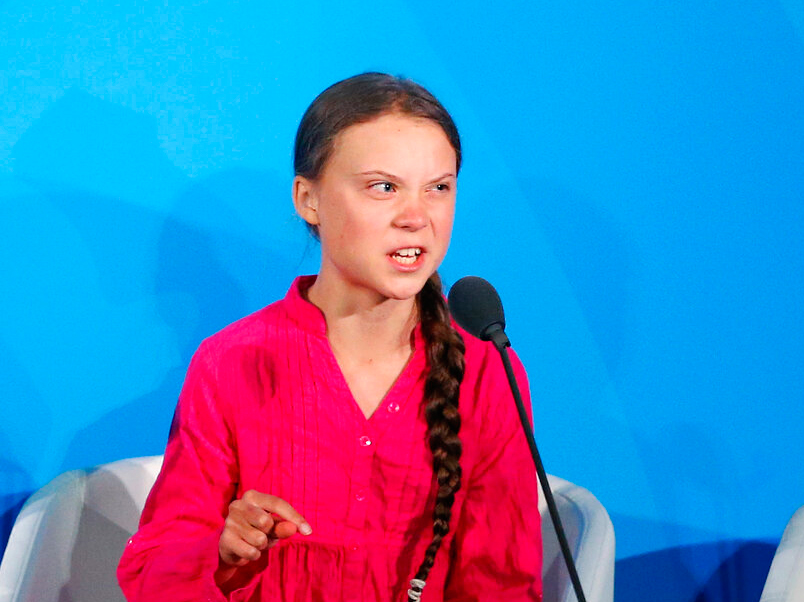Greta Thunberg addresses the Climate Action Summit in the United Nations General Assembly, at UN headquarters on September 23, 2019.