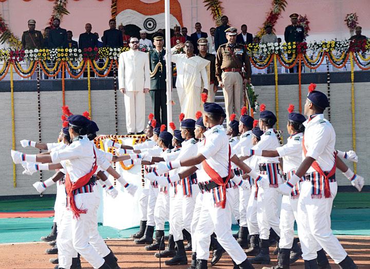 Governor Droupadi Murmu and chief secretary DK Tiwari salute the R-Day parade at Morabadi Ground in Ranchi.