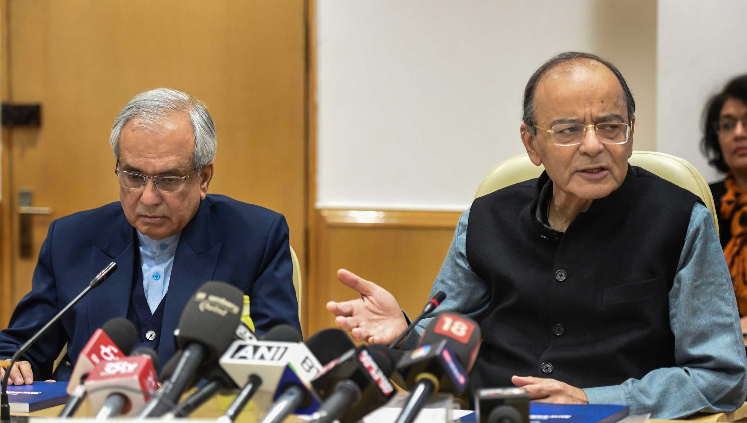 Finance minister Arun Jaitley with Niti Aayog vice-chairman Rajiv Kumar at a press conference after the release of the strategy document in New Delhi on December 19, 2018.