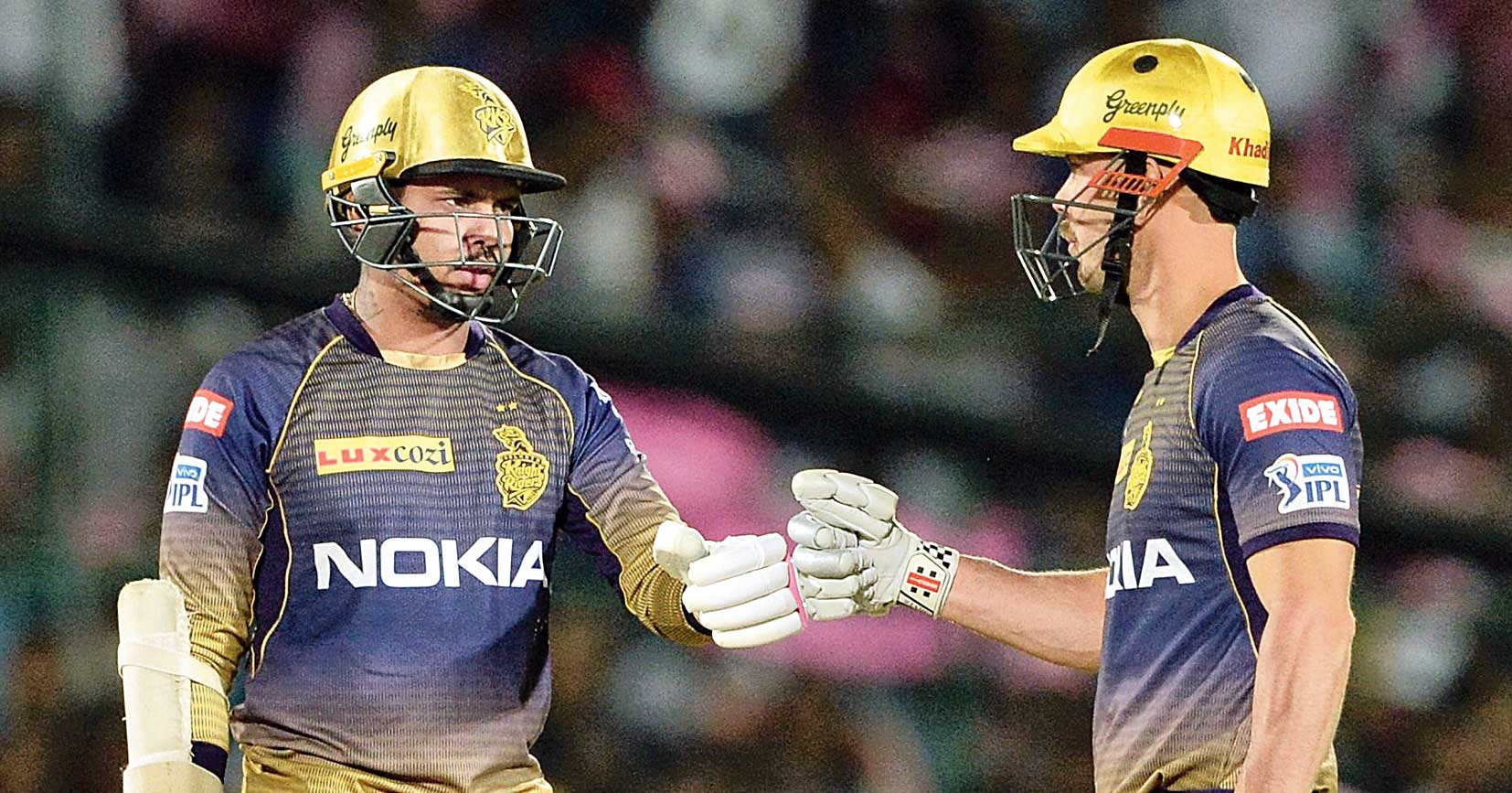 Sunil Narine (left) and Chris Lynn during their 91-run opening stand against Rajasthan Royals in Jaipur on Sunday.