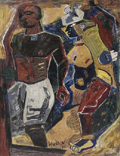 M. F. Husain, Peasant Couple, 1950, Oil on canvas.  While Nehruvian India was associated with scientific innovation, Husain's paintings often privilege the rustic grandeur of the village and its hardy folk. Here, the earth-hued couple appear to merge with their pastoral setting. Husain reached his aesthetic zenith in the 1950s, following close on the heels of Peasant Couple. As Husain fabricates a visual language for a 'secular' India, he draws from both Mughal miniatures and pre-Islamic traditions of South Asia. ZJ