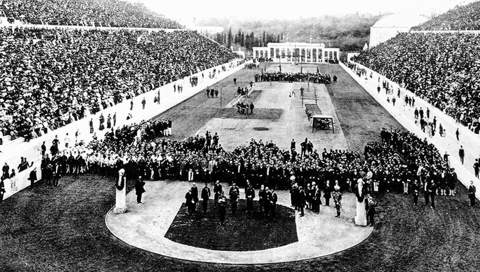 The opening ceremony in the Panathenaic Stadium in 1896