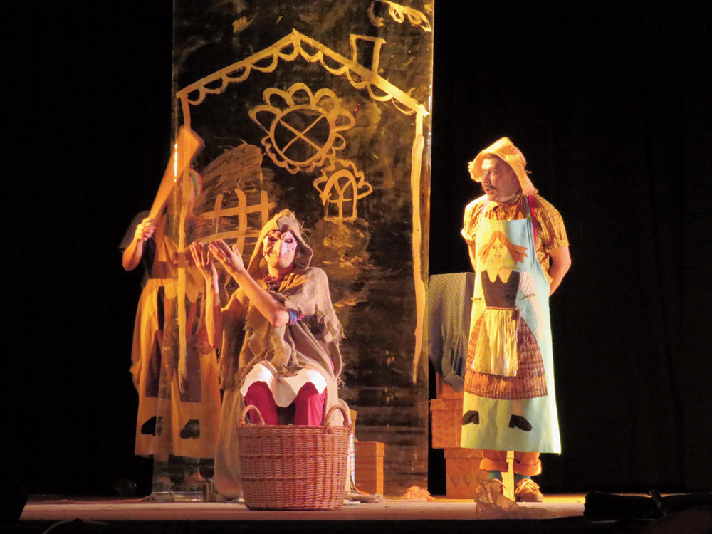 A scene from the Russian play 'Bakery of Grimm Brothers' staged at the festival on Wednesday