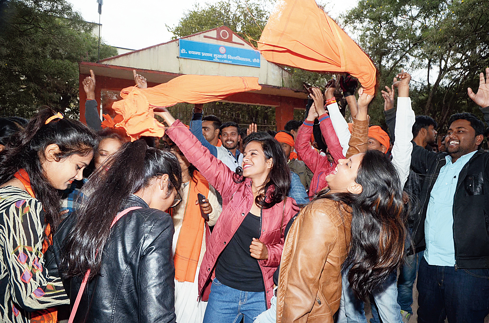 Student members of the right-wing outfit celebrate the victory in a lone seat.