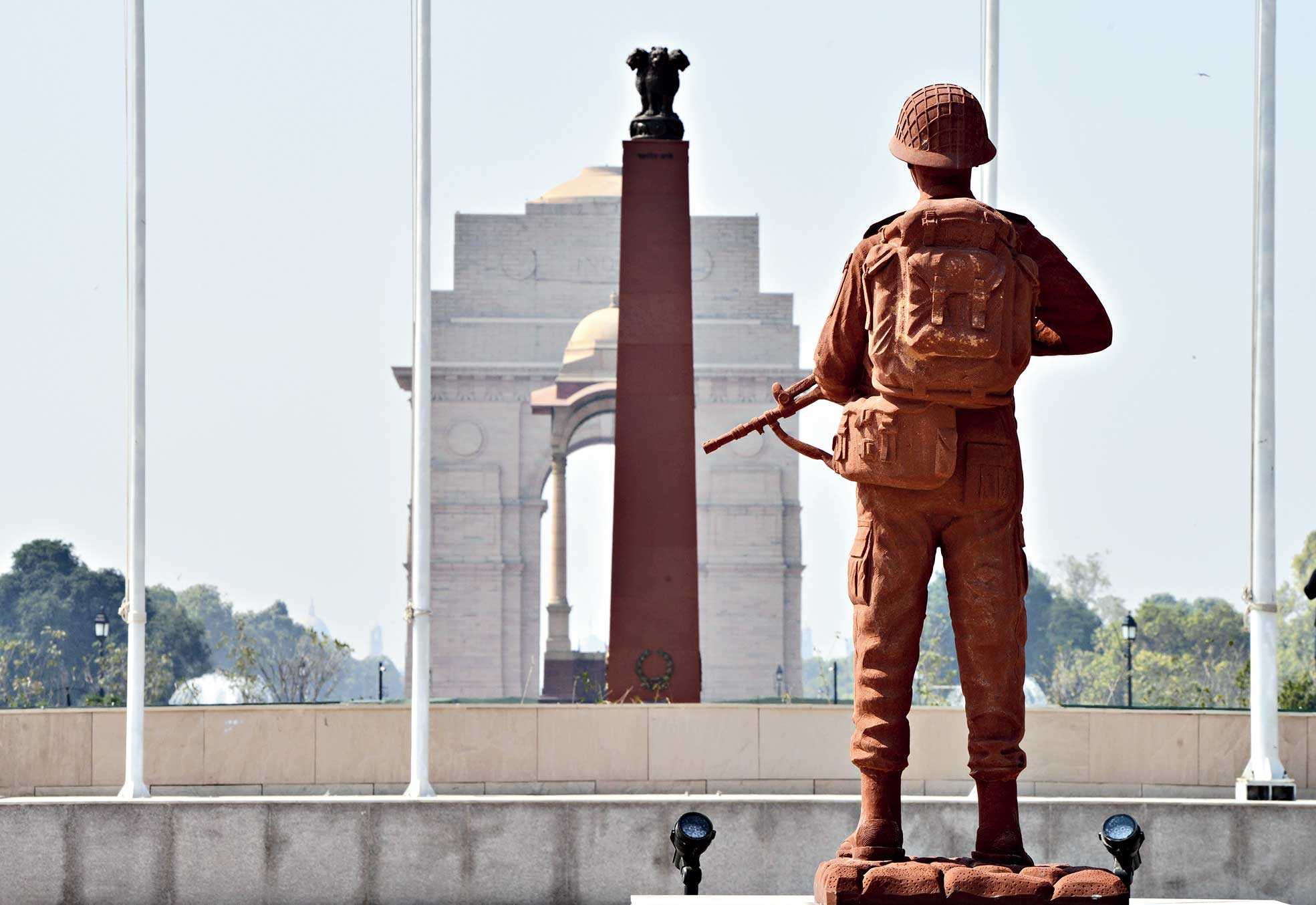 The National War Memorial near India Gate in New Delhi. Prime Minister Narendra Modi will dedicate the memorial to the nation on Monday.