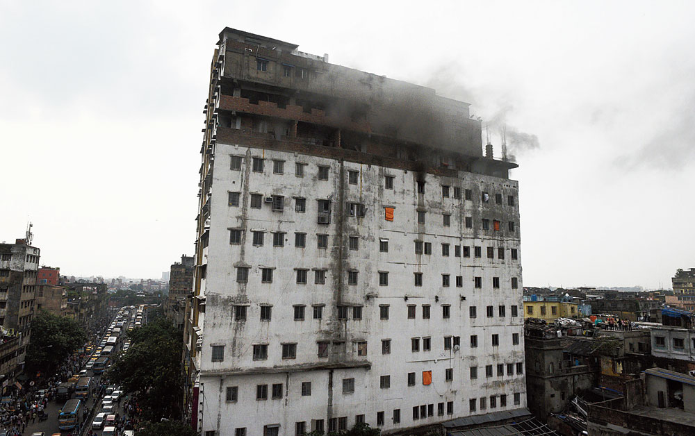 Nandaram Market after a fire gutted two rooms on the ninth floor in July 2019
